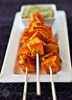 Roasted Sweet Potato Skewers with cilantro-jalapeno dip