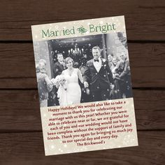 Married and bright christmas card - wedding thank you