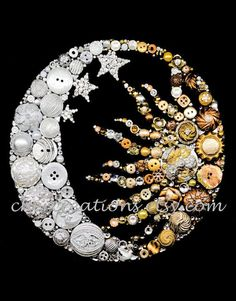 MOON & SUN 8x10 Button Art Button Artwork buttons by CherCreations