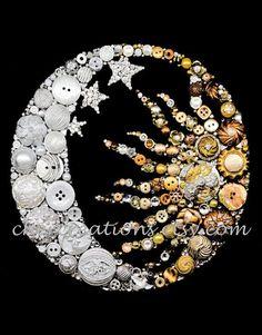 MOON & SUN 8x10 Button Art Button Artwork buttons by CherCreations