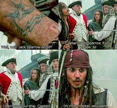 """""""So so. Jack Sparrow, nicht wahr?"""" """"Captain Jack Sparrow, wenn ich bitten darf."""" """"Ich sehe garnicht euer Schiff...'Captain'."""" """"Will mir grade eins besorgen...zufällig."""""""