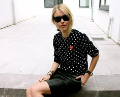 comme des garcons and a leather skirt