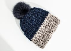 Color Block Beanie in Navy/Taupe