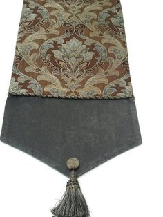 Blue and Brown Woven Damask Elegant Table Runner, Custom Designer Table Runners - Size 82 in x 13 in by CVDesigns on Etsy