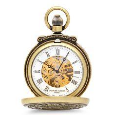 Lion Theme Mechanical Charles Hubert Pocket Watch & Chain #3866-G