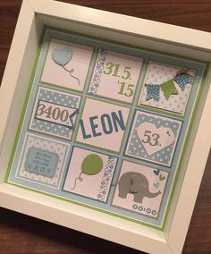 Ribba Rahmen von Ikea personalisiert als Geschenk zur Geburt (blau, grün, grau, Herz, Elefant, JM Creation, Rayher, mft, SU!)