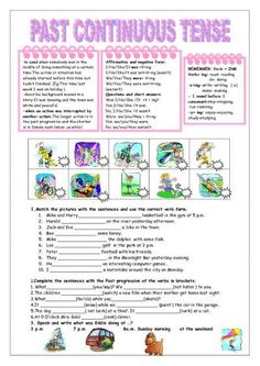 past continuous tense worksheets esl