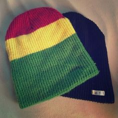 2 Neff beanies! One rasta and one black. Also will sell separately 10 each Neff Accessories Hats