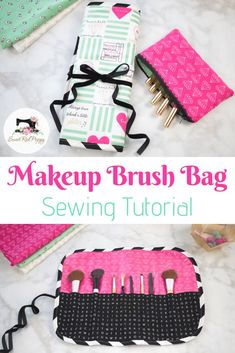 Learn how to sew a Makeup Brush Bag with this step-by-step sewing tutorial!