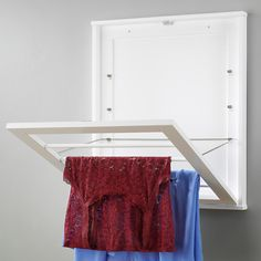 Maximize space in a small laundry room and keep your bath clear of clotheslines . Maximize space i Laundry Room Drying Rack, Drying Rack Laundry, Clothes Drying Racks, Laundry Storage, Laundry Room Organization, Laundry Labels, Wooden Drying Rack, Wall Mounted Drying Rack, Small Laundry Rooms
