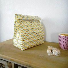 Lunch bag - sac goûter en coton enduit fermeture scratch