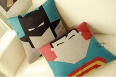 Superhero throw pillows- might attempt a DIY with this for Mr P's room