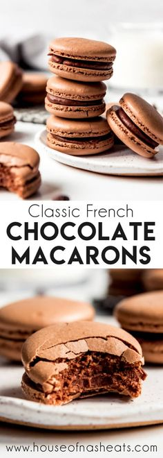 These indulgent Chocolate Macarons are filled with chocolate ganache and easier to make than you would think! Don't be intimidated by this French dessert. French Macaroon Recipes, French Dessert Recipes, French Macaroons, Chocolate Macaroons, Chocolate Macaron Recipe, Easy Macaron Recipe, Macarons Filling Recipe, Best Macaroon Recipe, Homemade Macarons