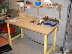 Richards workshop and projects Felt House, Shop Work Bench, Folding Desk, Wooden Projects, Home Reno, Workshop, Camden, Furniture, Tools