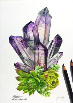 Crystal Succulent Art Print by Katrina Rae Art on Etsy Website Katrina Rae Art. Painting Inspiration, Art Inspo, Crystal Illustration, Crystal Drawing, Succulent Tattoo, Crystal Tattoo, Desenho Tattoo, Color Pencil Art, Spring Art