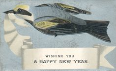 Victorian Christmas card bird