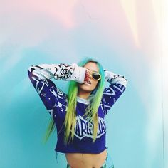 Find images and videos about fashion, hair and dyed hair on We Heart It - the app to get lost in what you love. Steam Punk, Festivals, Psychedelic Fashion, Kawaii, Pastel Hair, Green Hair, Blue Green, Mermaid Hair, Fancy
