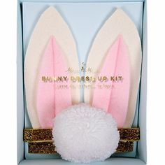Meri Meri Bunny Dress Up Kit: A super cute bunny dress up kit for you or your little one to dress up in style at a party or celebration. Bunny dress up kit includes felt ears and pom-pom tail embellished with shiny gold foil and glitter.