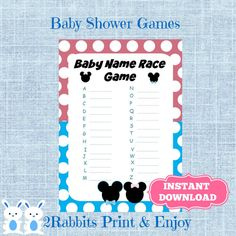 Gender Reveal Baby Name Race Game Mickey Minnie Mouse Baby Shower Name Race Game -Write Baby Names Disney Baby Shower Games Instant Download #babyshowergames #partydigitalfiles #etsypartyshop