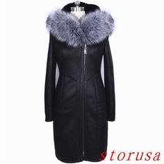 Fashion Women Fur Collar Leather Coat Winter Warm Thicken Fur Coat Size 8Xl