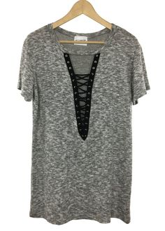 - lace-up necklIne - Tee-dress fit - rayon,polyester and spandex - made in USA Dressy Outfits, Girl Outfits, Cute Outfits, Euphoria Fashion, My Boutique, Tee Dress, Cute Tops, Types Of Fashion Styles, Everyday Fashion