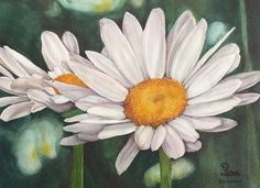 daisies, flower art print, watercolor flowers, daisy wall art on Etsy, $10.00