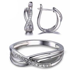 Silver Infinity Knot Ring And Earring Jewelry Set Wedding Jewelry Sets, Bridal Jewelry, Gemstone Jewelry, Silver Jewelry, Fine Jewelry, Infinity Knot Ring, Infinity Jewelry, Bridal Earrings, Ring Earrings