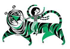 Green Tiger Screenprint by LesleyToast on Etsy, £20.00