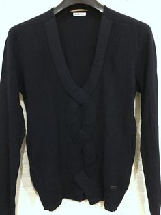 Dirk Bikkembergs V Neck Cable Sweater Size Small Navy Blue Wool Blend #Bikkembergs #VNeck