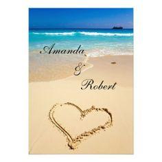 Beach Wedding Invitations           Heart on the Shore Beach Wedding Invitation  tropical island exotic wedding location