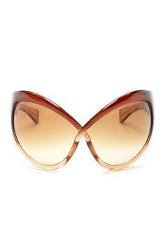 Tom Ford Unisex Transparent Brown Plastic Sunglasses