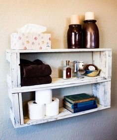 Look at this Drakestone Designs Two-Tier Reclaimed Wood Shelf - Set of Two on today! House Shelves, Box Shelves, Wall Mounted Shelves, Display Shelves, Shelving, Wood Crate Shelves, Reclaimed Wood Shelves, Wood Crates, Wood Shelf