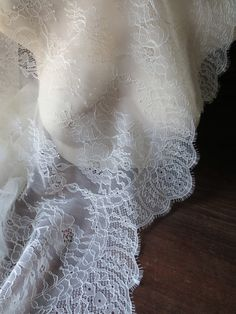 Chantilly Lace Fabric in Ivory Cream for Bridal by MaryNotMartha