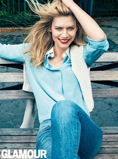 Blue Bliss: Claire Danes wearing the J BRAND 811 Skinny Leg in Bliss in Glamour…