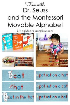 Fun ideas for using the Montessori movable alphabet to spell words, phrases, and sentences inspired by Dr. Seuss books; perfect for home or classroom, especially for Dr. Seuss's birthday March 2 - Living Montessori Now #Seuss #DrSeuss #Montessori #movablealphabet #phonicsliving