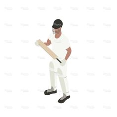Cricket player illustration