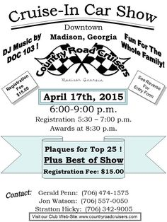 Car Show | Country Road Cruisers | April 17, 2015