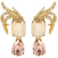 Oscar de la Renta Crystal-Embellished Clip-on Earrings (1.330 BRL) ❤ liked on Polyvore featuring jewelry, earrings, gold, golden jewellery, oscar de la renta earrings, oscar de la renta, clip back earrings and clip on earrings