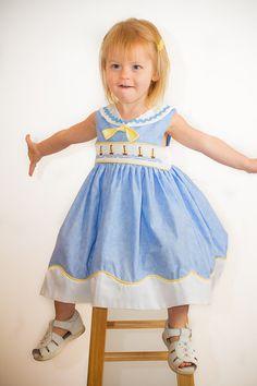 Custom Hand Smocked Sailor Dress any Girls Size