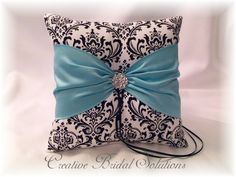 Black and White Madison Damask with Tiffany Blue Ring Pillow and Flower Girl Basket. $75.00, via Etsy.