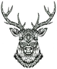 Tête de cerf réalisée à la main, aux feutres fin noir Disponible en T-shirt http://ozart.spreadshirt.fr/ Illustration of Deer head, makes with fine liner pen Available on T-shirt http://ozart.spreadshirt.fr/