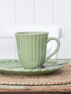 Bella Rose, Nordic Design, Green And Grey, Mugs, Tableware, Balcony, Cottage, Dinnerware, Tablewares