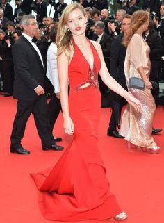 A modelo inglesa Georgia May Jagger vestiu Roberto Cavalli ALBERTO PIZZOLI / AFP Cannes 2013