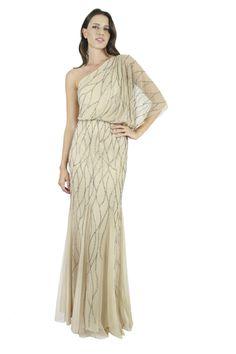 ADRIANNA PAPELL Vestido nude bordado de un hombro, Atenas