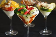 Mashtini bar! Mashed potatoes with all the toppings, assembled in martini glasses