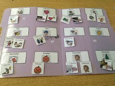 Sorting holidays by month in a file folder.  My kids love this work task.  www.autismtank.blogspot.com