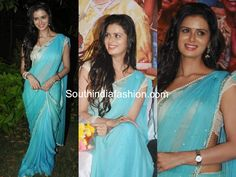 Meenakshi Dixit in Blue Chiffon Saree – Actress Meenakshi Dixit in blue pure chiffon saree with mirror work all over the saree and pearl work borders, paired up with white blouse. House Of Blouse, Chiffon Saree, Cute Beauty, South India, Saree Styles, India Fashion, Saree Blouse, Alto Car, Desi