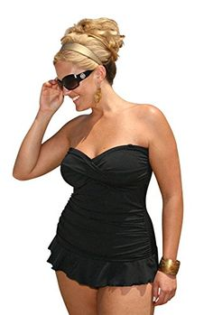 23fad62d956 Amazon.com  Plus Size Isabella Two-Piece Tankini Swimsuit from Always For  Me  Clothing. Introducing ...