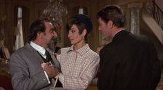 """Hugh Griffith, Audrey Hepburn, Peter O'Toole, """"How to Steal a Million"""" (1966)  Screen capture of 1966 romantic comedy, """"How to Steal a Million,"""" starring Belgium-born British actress Audrey Hepburn (May 4, 1929 - January 20, 1993), London-born actor Peter O'Toole (August 2, 1932 - December 14, 2013), and Oscar-winning Welsh actor Hugh Griffith (May 30, 1912 - May 14, 1980)."""
