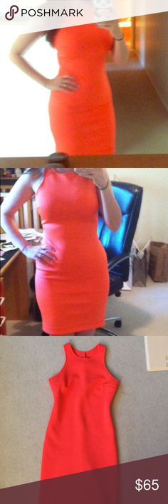 Clover Canyon Neon Orange Neoprene Dress This dress is amazing!! The color is super bold and gorgeous. I wore it once at my bachelorette party, and it will never fit me again 😂. Has a very tiny stain on the front, hardly noticeable and would probably come out with dry cleaning. Purchased from Neiman Marcus at full price. Clover Canyon Dresses Mini